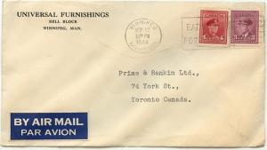 Canada #252&254 3c violet & 4c carmine 7c Airmail Rate From Winnipeg to Tor.