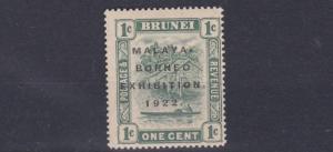 BRUNEI  1922  S G 51   1C   GREEN   MH   LIGHTLY TONED