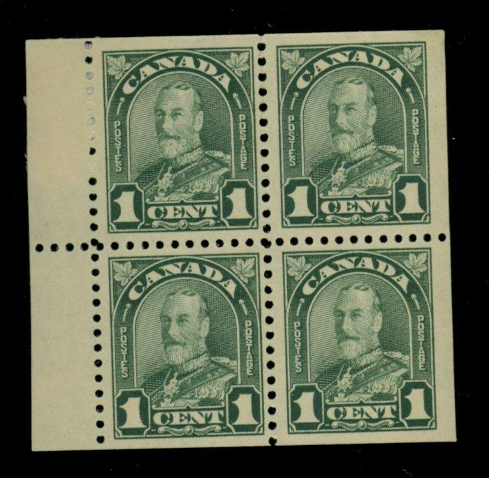 Canada #163a MINT Booklet Pane of 4 F-VF OG 2 stps NH 1 paper HR
