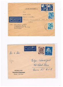 2 German airmail covers from Germany to the US