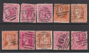 VICTORIA AUSTRALIA QV 10 various numeral cancels............................P735