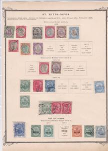 st kitts nevis mounted mint and used stamps on album page   ref r9071