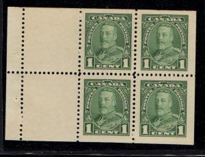 Canada Sc 217a 1935 1c grn G V Bklt pane of 4 mint NH
