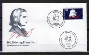 Germany, Scott cat. 1464. Composer Franz Liszt issue. First day cover.