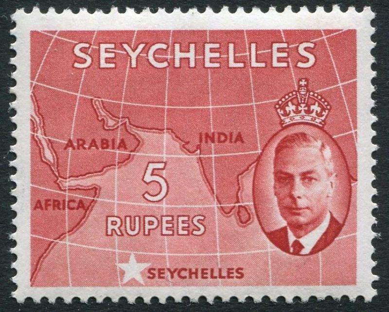 SEYCHELLES-1952 5r  Red Sg 171 UNMOUNTED MINT V20225