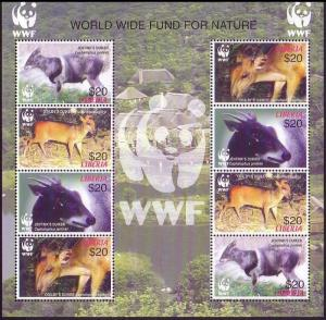 Liberia WWF Duikers Sheetlet of 2 sets MI#5100-5103 SC#2370 a-d