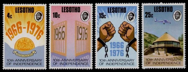 Lesotho 213-6 MNH Aircraft, Architecture, 10th Anniv Independence