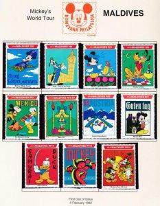 DISNEY MALDIVES 1643-55A MINT NHMICKEY'S WORLD TOUR