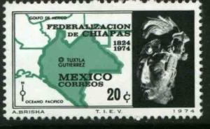 MEXICO 1067, 20¢ Sesquicentennial of Chiapas Statehood. MINT, NH. F-VF.