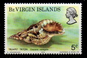 BRITISH VIRGIN ISLANDS SG317a 1974 SEASHELLS 5c WITH LESOTHO WMK MNH