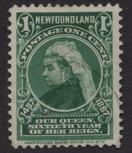 Newfoundland  #61  used   1897  Victoria  1ct