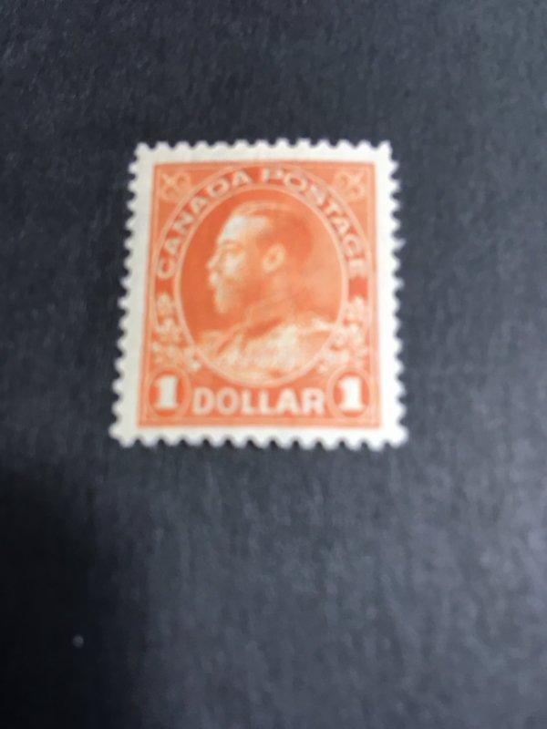 Canada #122 Mint VF-NH USC Cat. $450. Dry Ptg. $1. Orange Ctrd. a Bit ToBottom
