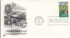 1984, 25th Anniv. Alaska Statehood, Artcraft, FDC (D14898)