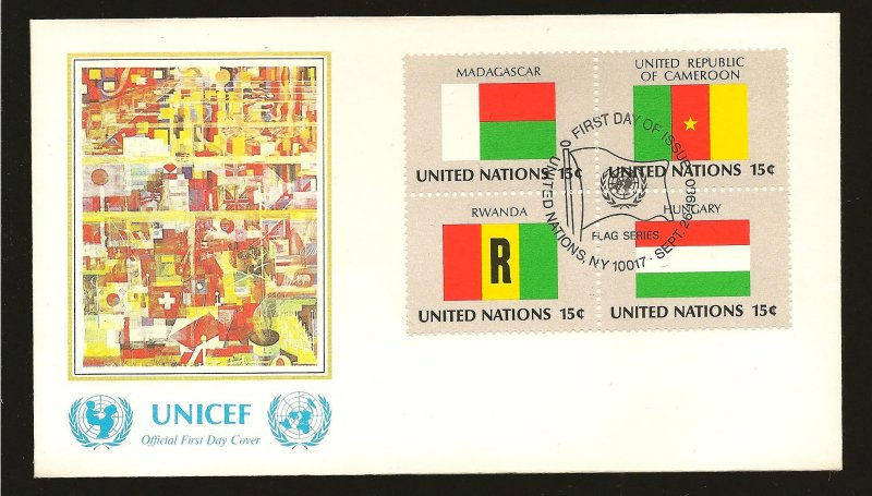 United Nations 337-340 UNICEF Se-tenant Block of 4 1980 First Day Cover Used