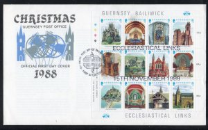 Guernsey Sc 400 1988 Christmas Churches stamp sheet on FDC