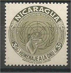 NICARAGUA, 1954, MNH 3c, United Nations, Scott 750