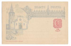 1898 Portugal Espanha 10r Thomar Tomar Church Illustrated Postal Stationery Card