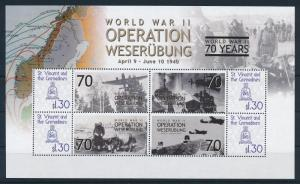 [81124] St.Vincent&Gren 2009 WWII Operation Weserubung Norway Denmark Sheet MNH