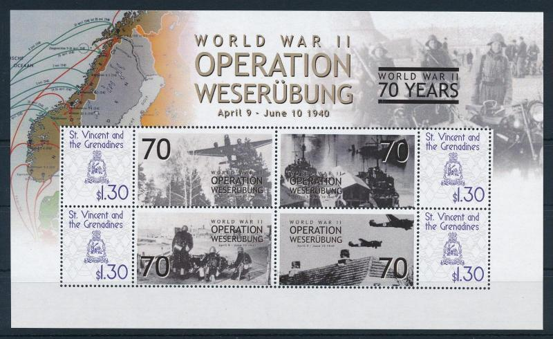 [81124] St.Vincent&Gren 2009 WWII Operation Weserubung Norway Denmark Sheet MNH