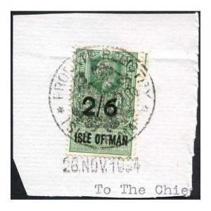 Isle of Man KGV 2/6 Key Plate Type Revenues CDS on Piece