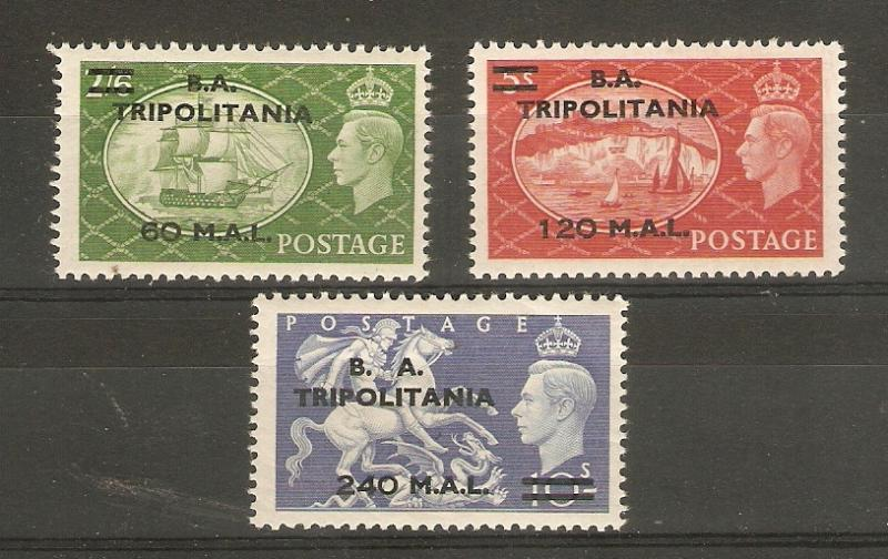 BRITISH OCCUPATION OF ITALIAN COLONIES - TRIPOLITANIA 1950 2s 6d, 5s, 10s LHM