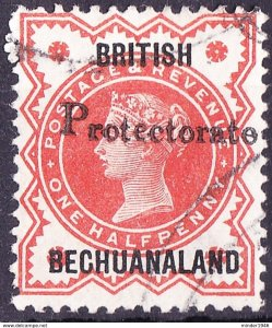 ​BRITISH BECHUANALAND 1890 QV GB 1/2d Vermillion with 'Protectorate' SG54 FU