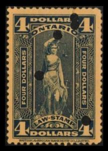 ONTARIO REVENUE TAX 1929 SCARCE $4. #OL82 VINTAGE LAW STAMP
