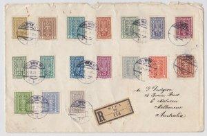 APH792) Austria – Australia 1922 large registered cover. Price $ 149
