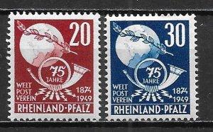 Germany Rhein-Palatinate 6N41-42 75th UPU set MNH (z2)