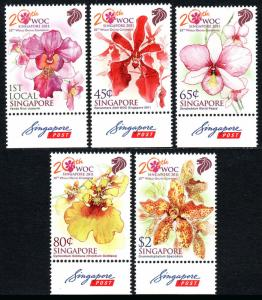 Singapore 1516-1520, MNH. World Orchid Conference, Singapure. Orchids, 2011