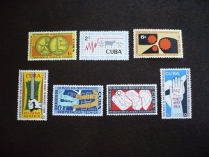 Stamps - Cuba - Scott# 663-665,C215-C218 - Mint Hinged Set of 7 Stamps