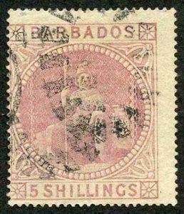 Barbados SG64 5/- Dull Rose wmk Small Star (sideways) Light bend