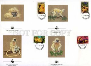 239838 BHUTAN WWF Monkeys Langur 1984 year set of 4 FDC