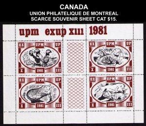 CANADA UNION PHILATELIQUE MONTREAL EXUP 1981 SOUVENIR SHEET CV $15. CINDERELLA