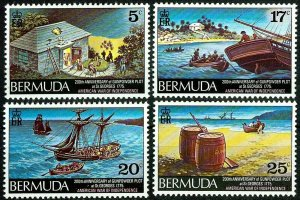 BERMUDA - 1975 - GUNPOWDER PLOT - BICENTENNIAL - SHIP - WAR + MINT - MNH SET!