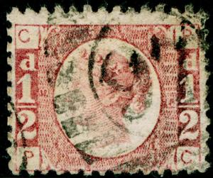 SG49, ½d rose PLATE 13, USED. Cat £22. PC