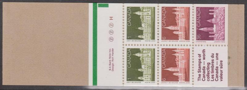 Canada - 1987 Parliament Buildings Booklet w. Counter #BK92b
