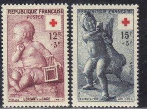 FRANCE  SC# B300-301  MNH  SEMI POSTAL  1955  RED CROSS  SEE SCAN