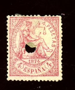 Spain #209 Used Fine Punched hole Cancel Cat $410