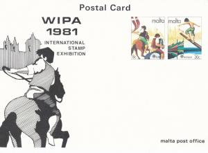 Malta Postcard WIPA 1981Stamp Exhibition Unused Mint Condition