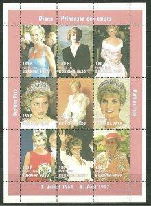 Burkina Faso MNH S/S Princess Diana SCV 10.00