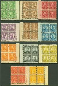 EDW1949SELL : USA 1926 Scott #632-42 P/B of 4. Many VF MNH except #633 Cat $320.