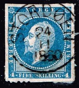 NORWAY STAMP 1856 -1857 King Oskar I, 1799-1859 4 SK USED ON PAPER