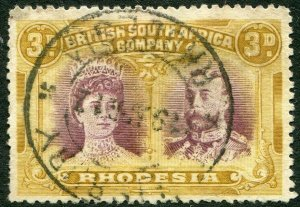 RHODESIA-1910-13 3d Purple & Yellow-Ochre Sg 135 GOOD USED V48375