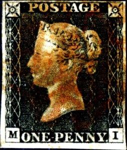 Great Britain Penny Black MI Four Margins