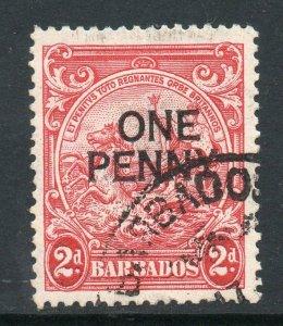 Barbados 1947 1d en 2d Perforado 13½ x13 Sg 264e Usado