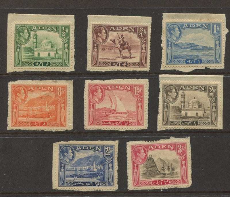 ADEN - Scott 16-23 - KGVI Definitive Issue - 1938 - Mint - Short Set of 8 Stamps