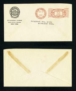 Meter cover Credit Clearing House, New York, NY to Milwaukee, WI dated 11-6-1931