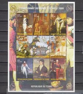 Chad, 2009 issue. Napoleon Bonaparte & Chess sheet of 9. Canceled.