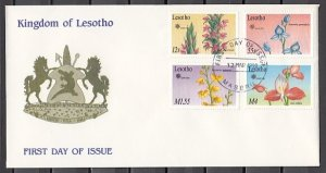Lesotho, Scott cat. 756, 758, 760, 763. Orchids, Part 1. First day Cover. ^